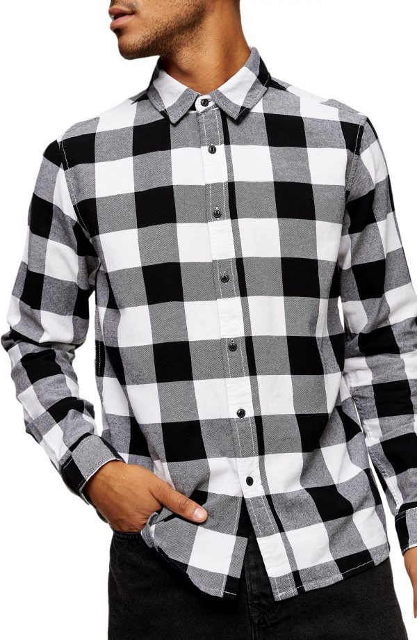 Men's Topman Buffalo Check Button-Up Flannel Shirt, Size Large - Black