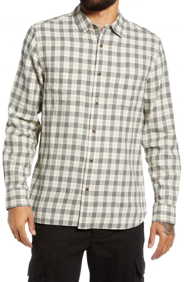 Men's Topman Check Cotton Button-Up Shirt, Size Large - Beige