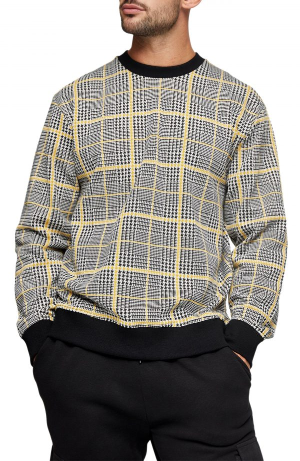 Men's Topman Check Crewneck Swearshirt, Size Large - Orange