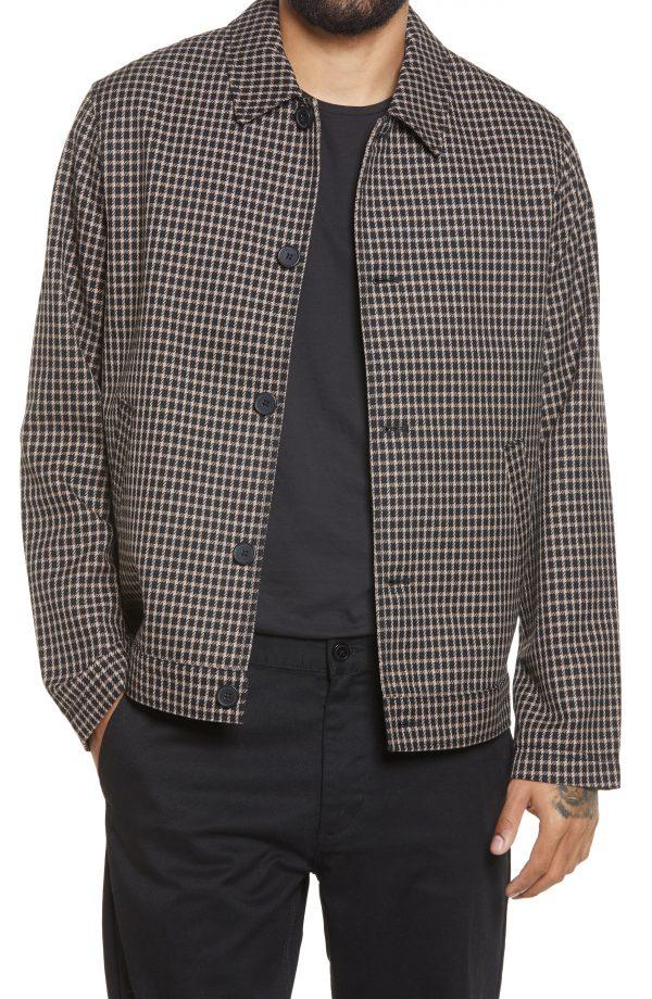 Men's Topman Check Harrington Jacket, Size Medium - Brown