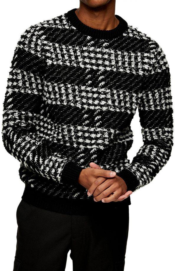 Men's Topman Check Sweater, Size Small - Black