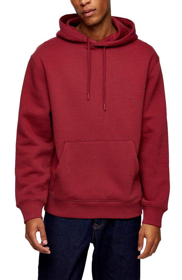 Men's Topman Classic Oversize Hooded Sweatshirt, Size Medium - Red