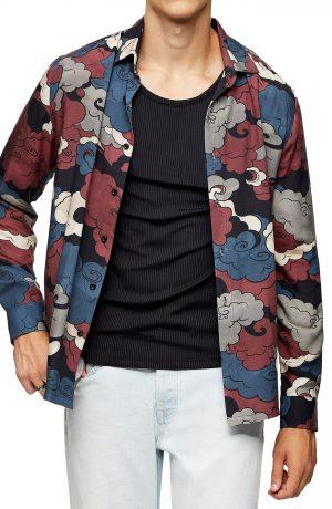 Men's Topman Clouds Slim Fit Button-Up Shirt, Size Large - Burgundy