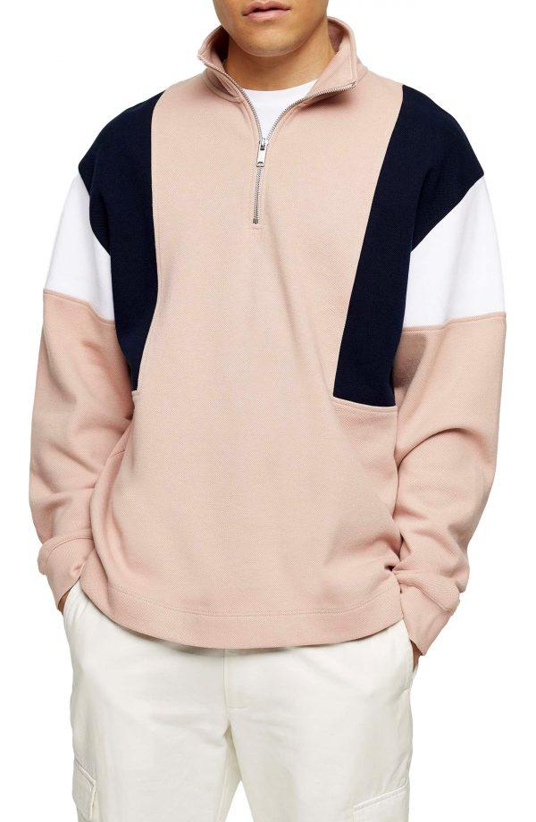 Men's Topman Colorblock Quarter Zip Sweatshirt, Size Medium - Pink
