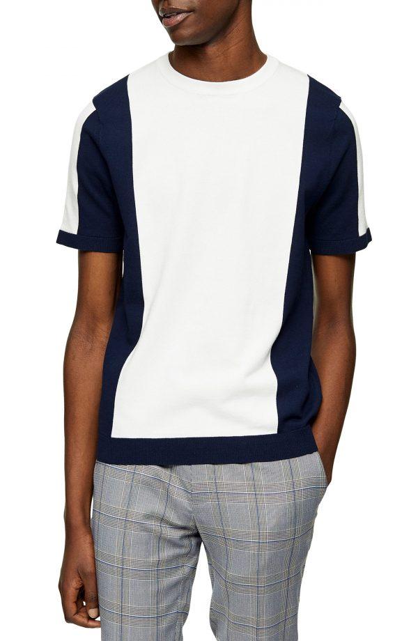 Men's Topman Colorblock Short Sleeve Crewneck Sweater, Size Large - White