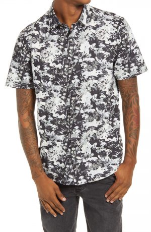 Men's Topman Considered Floral Print Camouflage Short Sleeve Organic Cotton Button-Up Shirt, Size Medium - Black