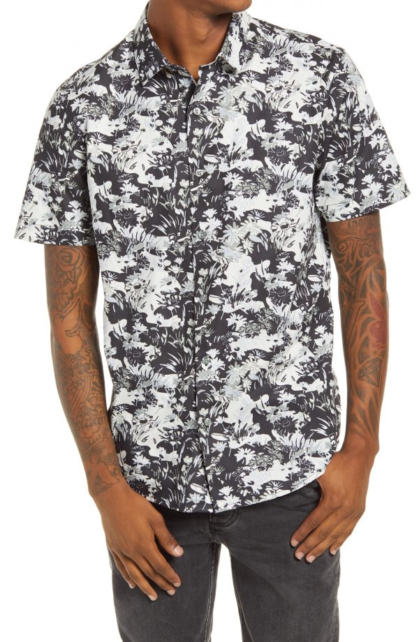 Men's Topman Considered Floral Print Camouflage Short Sleeve Organic Cotton Button-Up Shirt, Size Medium - Black