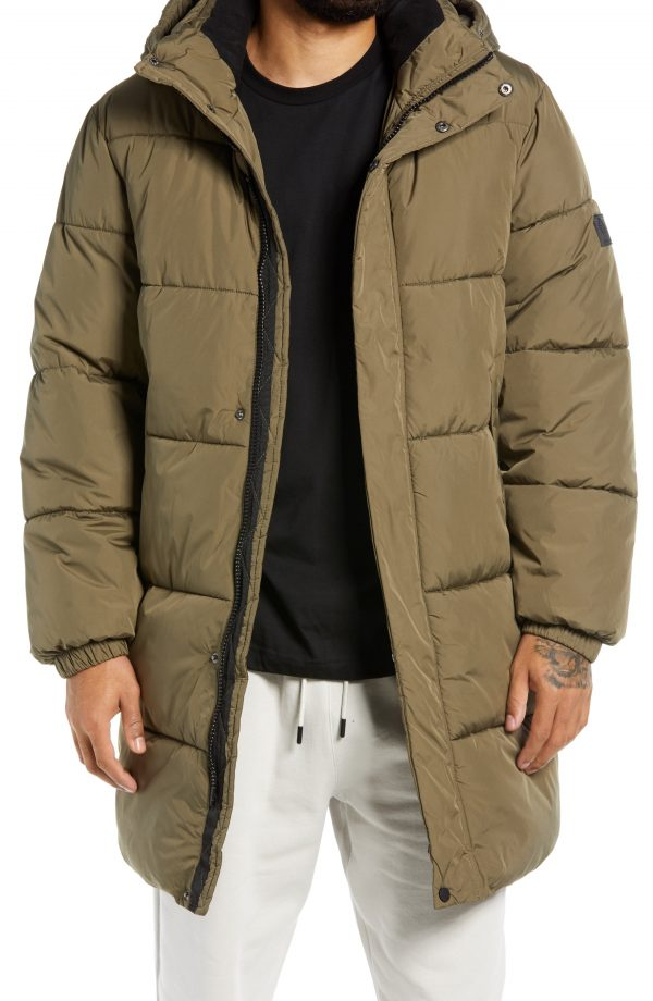 Men's Topman Considered Hooded Puffer Jacket, Size Large - Green