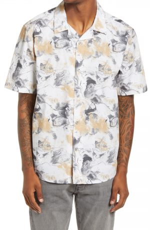 Men's Topman Considered Marble Print Slim Fit Button-Up Camp Shirt, Size XX-Large - Beige