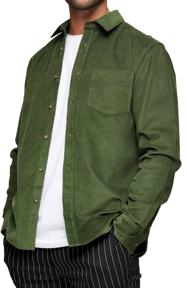 Men's Topman Cord Check Shirt, Size Large - Green