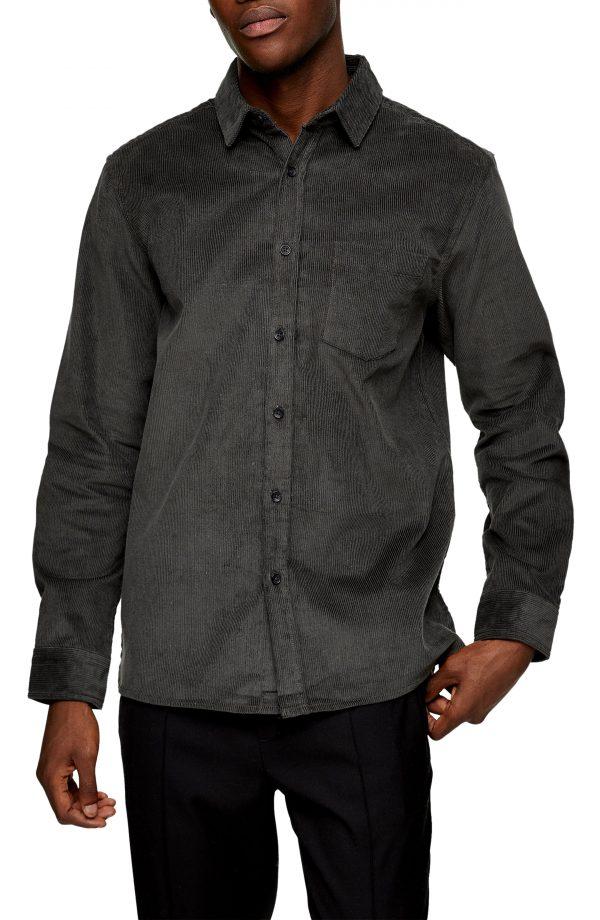 Men's Topman Corduroy Button-Up Shirt, Size Large - Grey