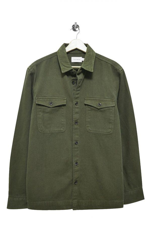 Men's Topman Corduroy Collar Overshirt, Size Small - Green