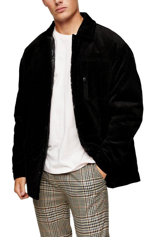Men's Topman Corduroy Shirt Jacket, Size Large - Black