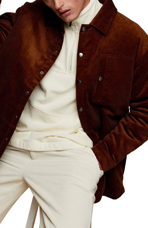 Men's Topman Corduroy Shirt Jacket, Size X-Small - Brown