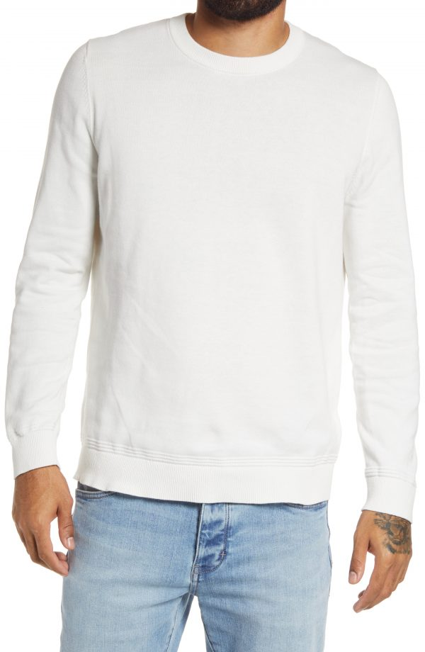Men's Topman Cotton Crewneck Sweater, Size Small - White