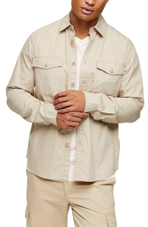 Men's Topman Cotton Overshirt, Size Large - Beige