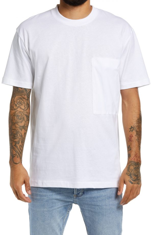 Men's Topman Cotton Pocket T-Shirt, Size Large - White