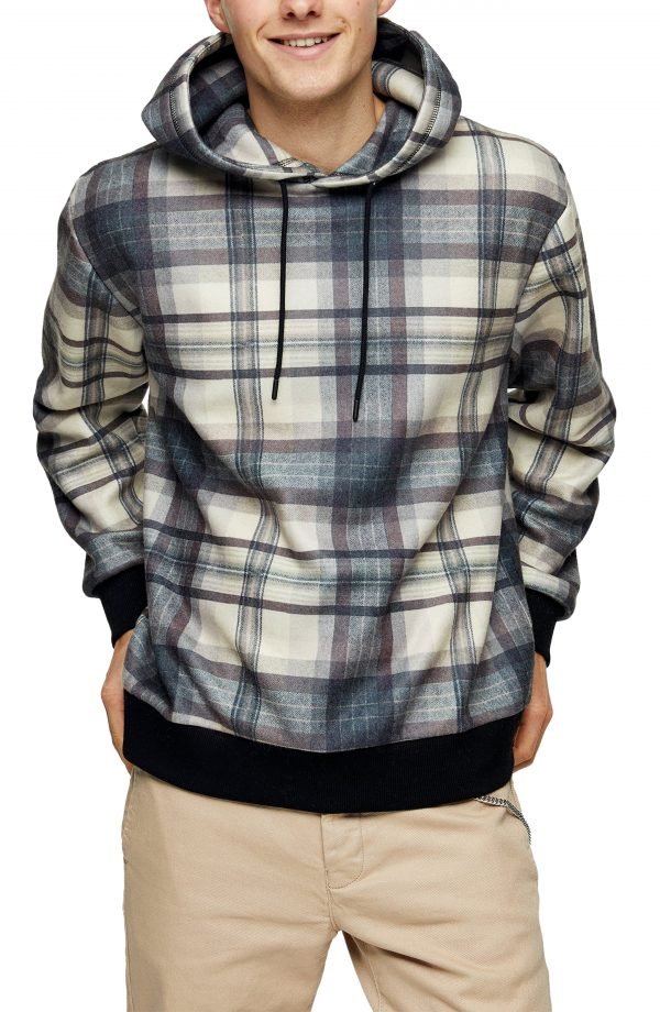 Men's Topman Country Check Hoodie, Size Small - Blue