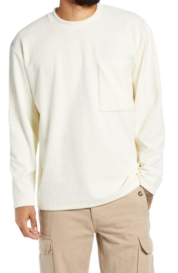 Men's Topman Courduroy Sweatshirt, Size Large - Ivory