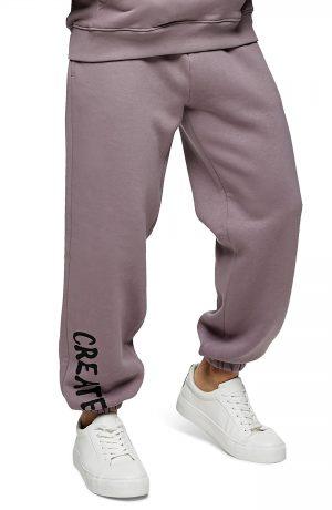 Men's Topman Create Graphic Jogger Sweatpants, Size Large - Purple