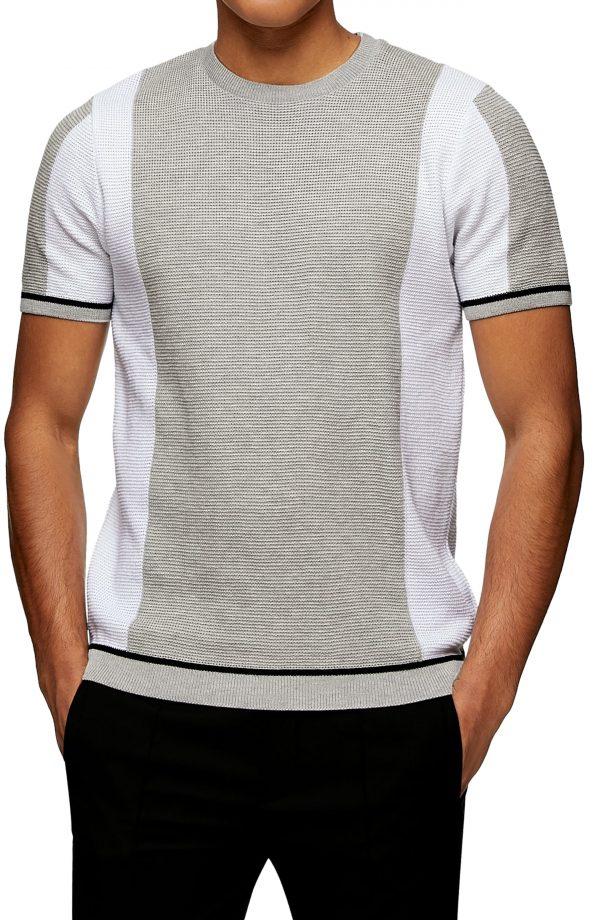 Men's Topman Crewneck Short Sleeve Sweater, Size Large - Black