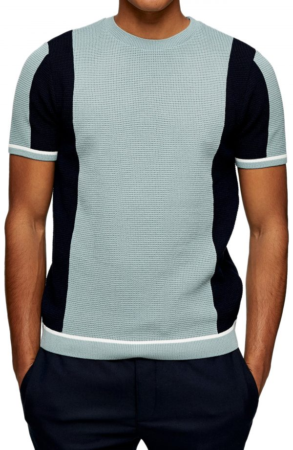 Men's Topman Crewneck Short Sleeve Sweater, Size X-Small - White