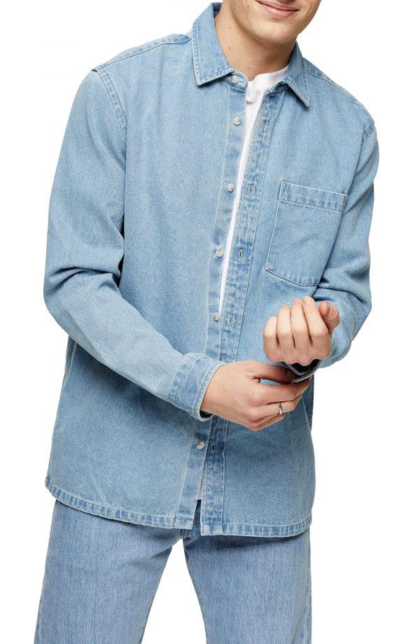 Men's Topman Denim Slim Fit Shirt, Size Large - Blue