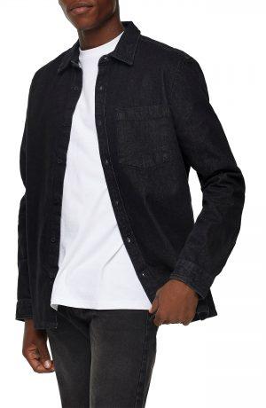 Men's Topman Denim Slim Fit Shirt, Size Large - Grey
