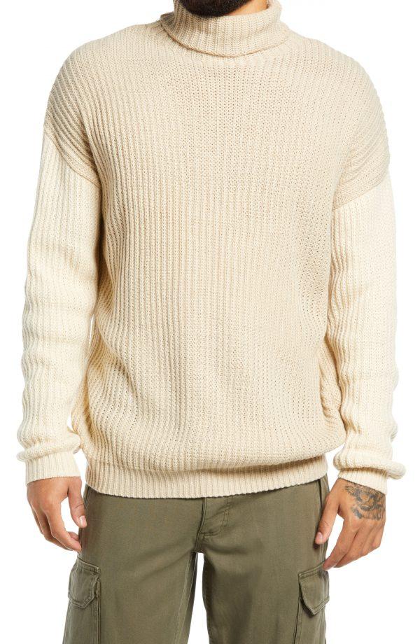 Men's Topman Drop Shoulder Colorblock Turtleneck Sweater, Size Large - Beige