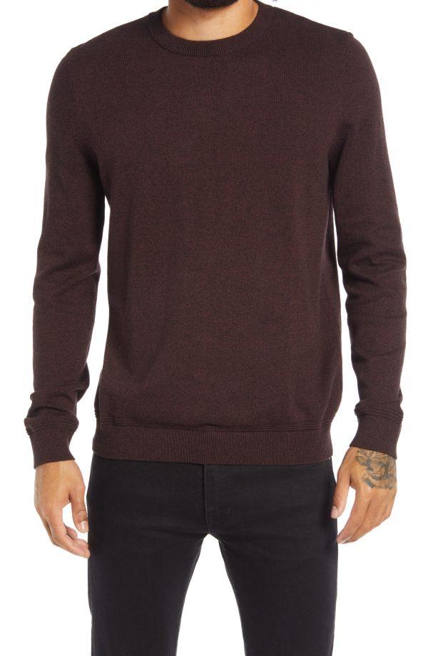 Men's Topman Essential Twist Crewneck Sweater, Size Small - Burgundy