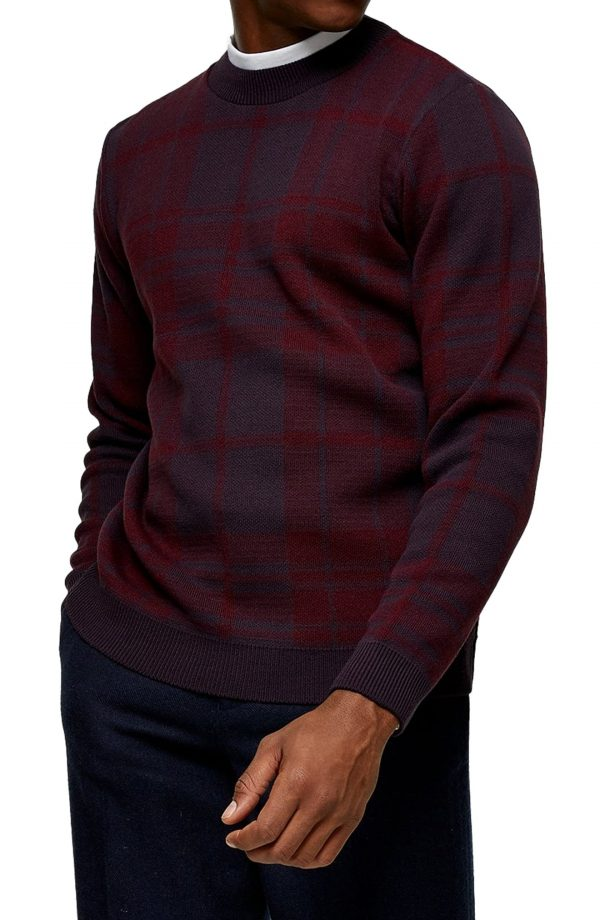 Men's Topman Exploded Check Crewneck Sweater, Size Small - Burgundy