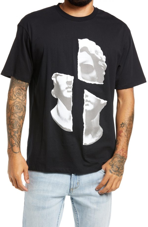 Men's Topman Face Collage Graphic Tee, Size Large - Black