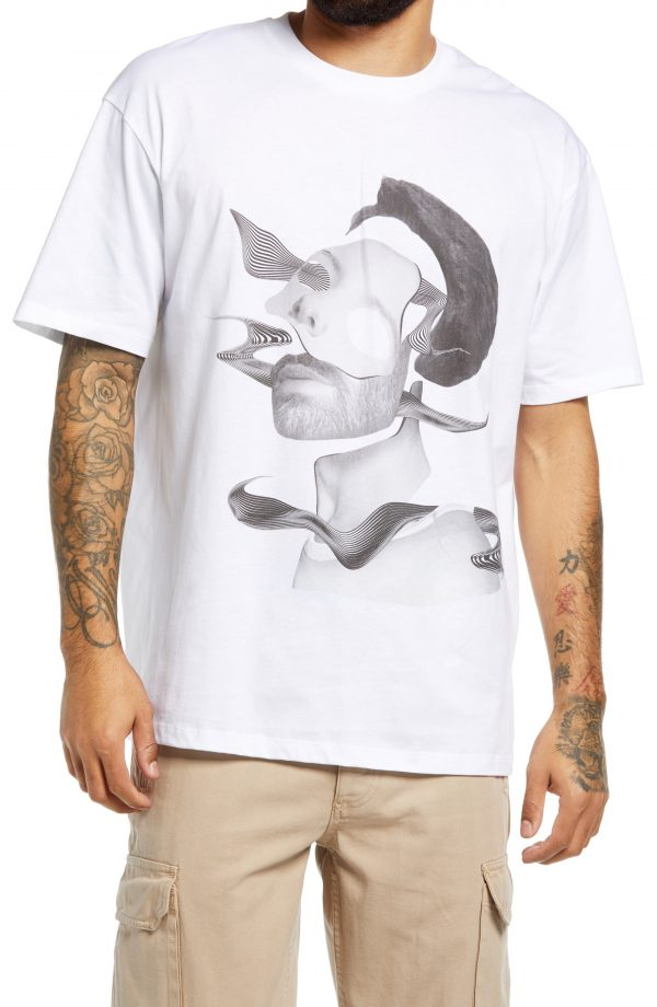 Men's Topman Face Collage Graphic Tee, Size Large - White