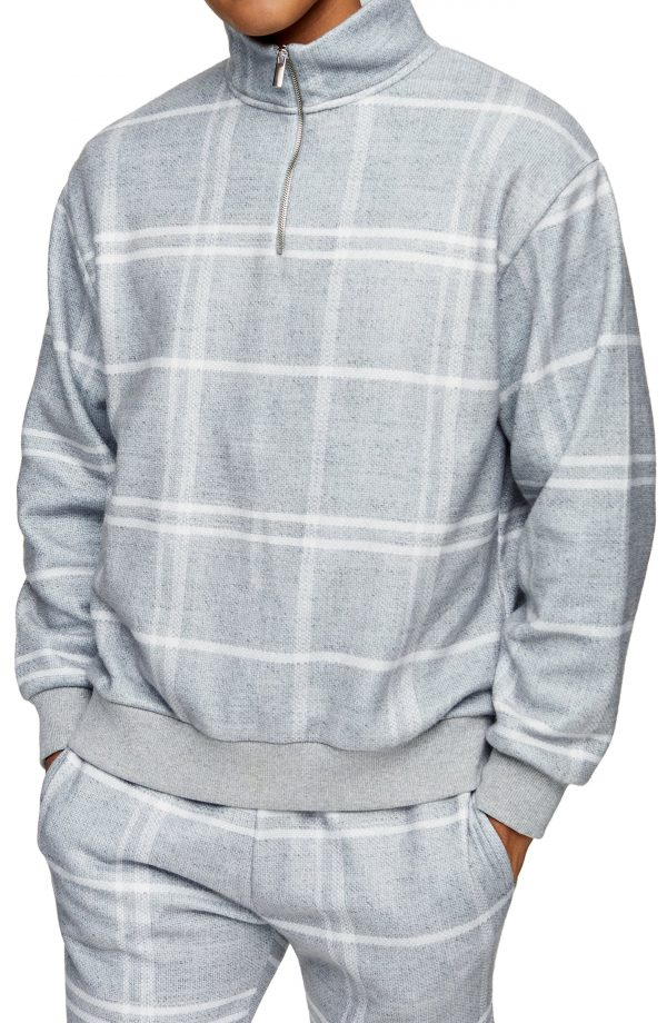 Men's Topman Half Zip Windowpane Check Sweatshirt, Size Large - Grey
