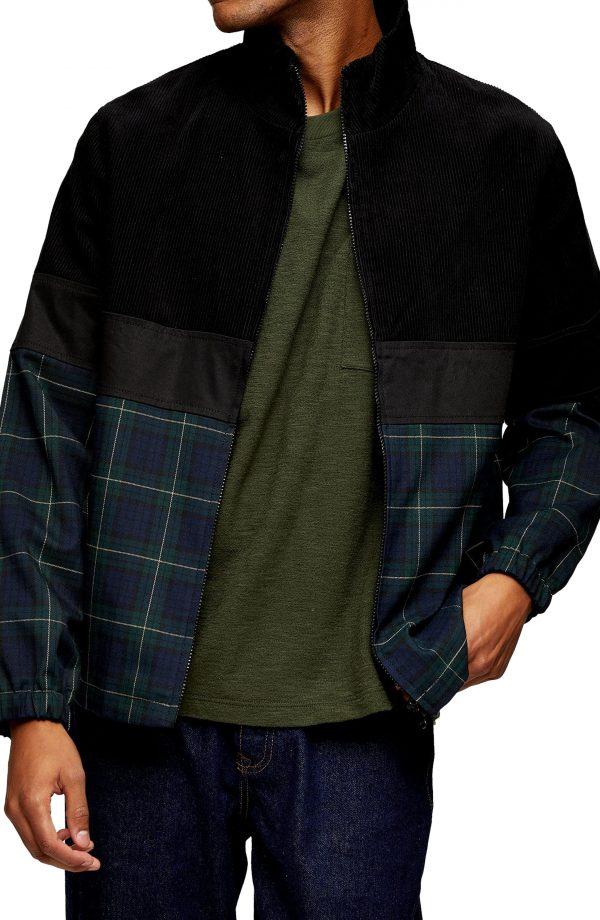 Men's Topman Harrington Check Jacket, Size Large - Black