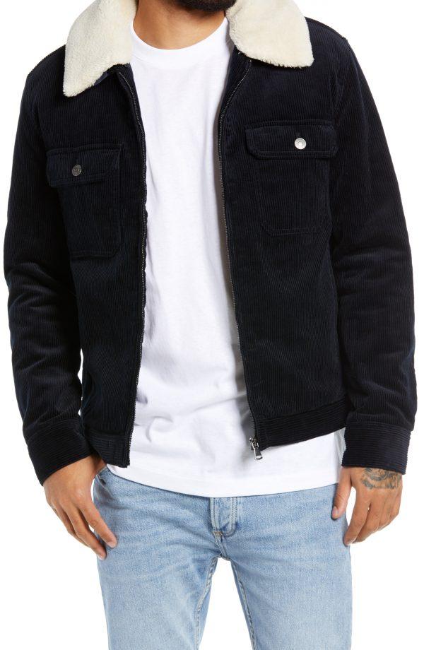 Men's Topman Harrington Corduroy Jacket, Size Medium - Blue