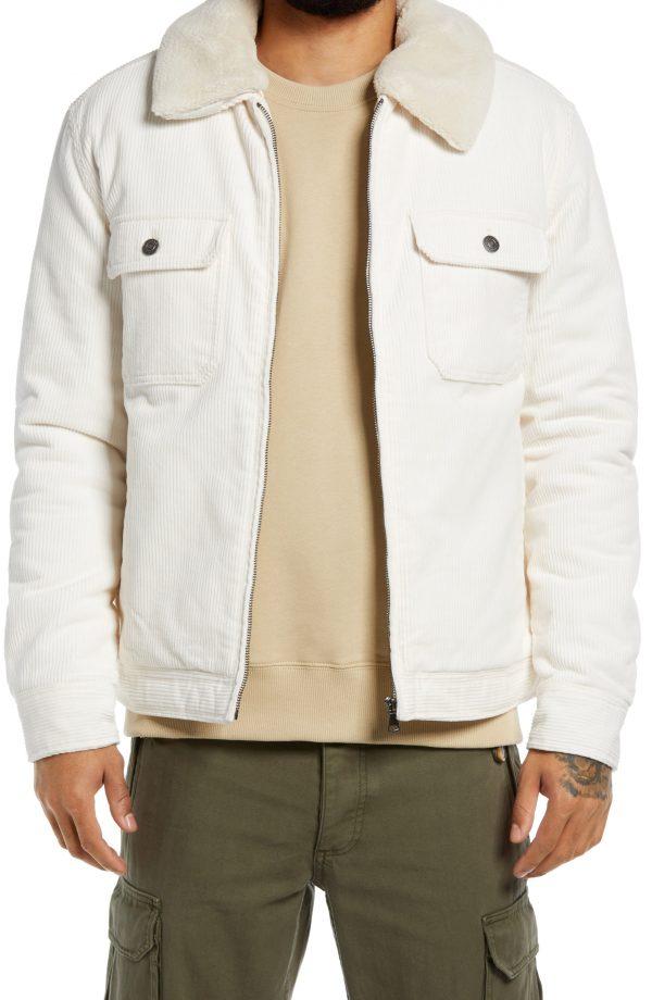 Men's Topman Harrington Corduroy Jacket, Size Small - Ivory
