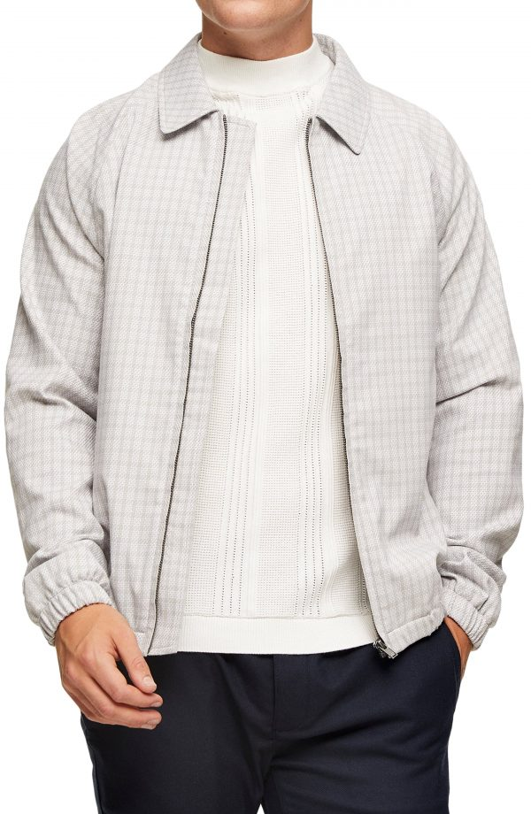 Men's Topman Harrington Plaid Jacket, Size Large - White