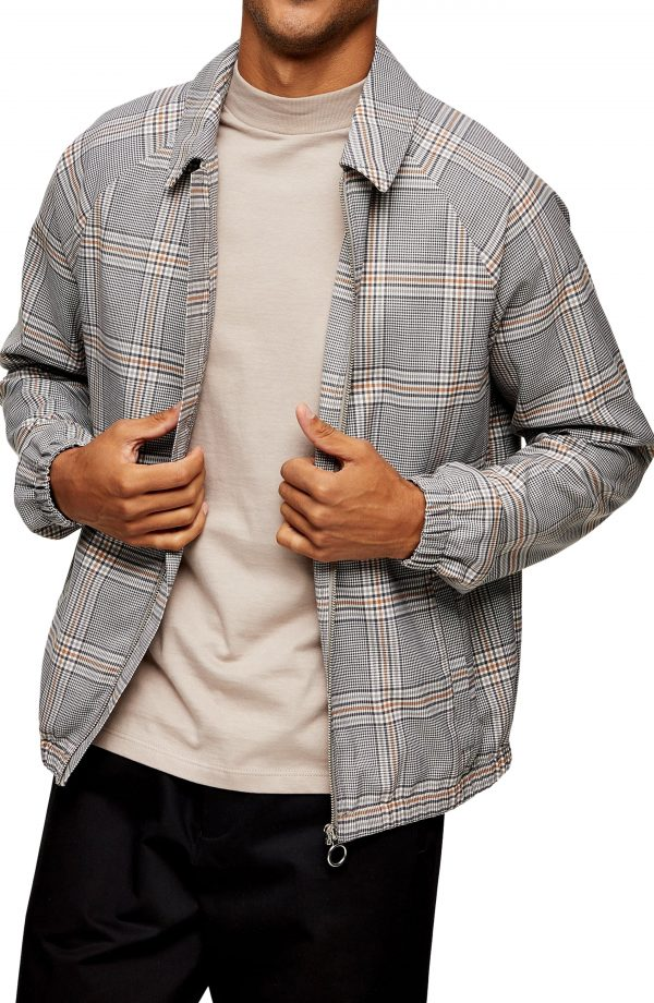 Men's Topman Harrington Plaid Jacket, Size X-Small - Brown