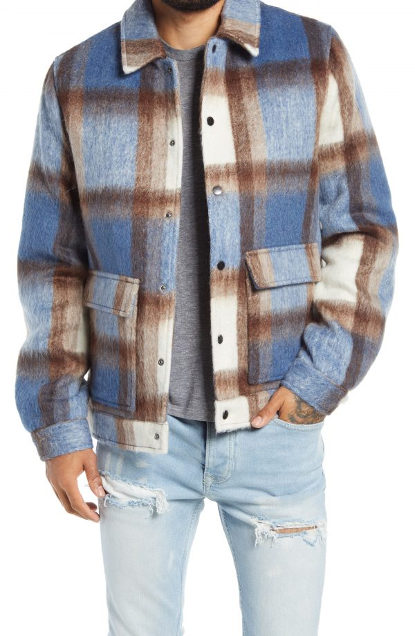 Men's Topman Harry Check Shirt Jacket, Size XX-Large - Blue