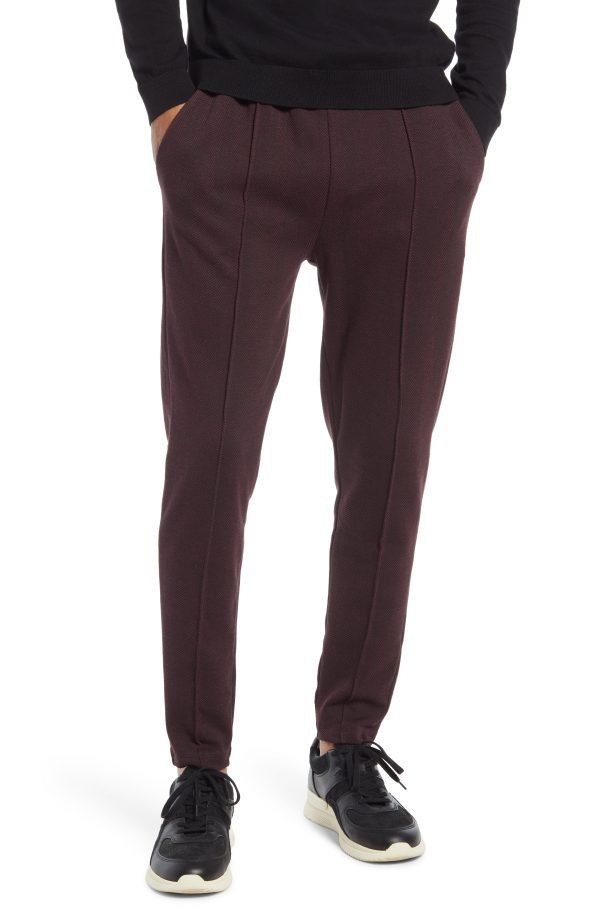 Men's Topman Herringbone Joggers, Size X-Large - Burgundy
