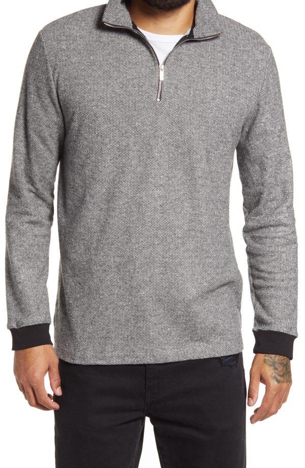 Men's Topman Herringbone Quarter Zip Pullover, Size Large - Grey