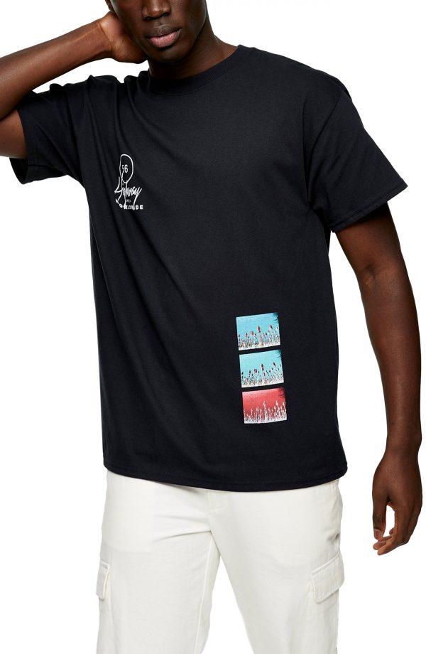 Men's Topman Highway Graphic Tee, Size Large - Black
