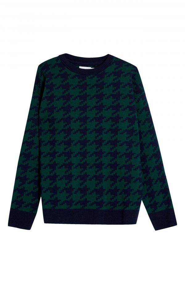 Men's Topman Houndstooth Sweater, Size Large - Green