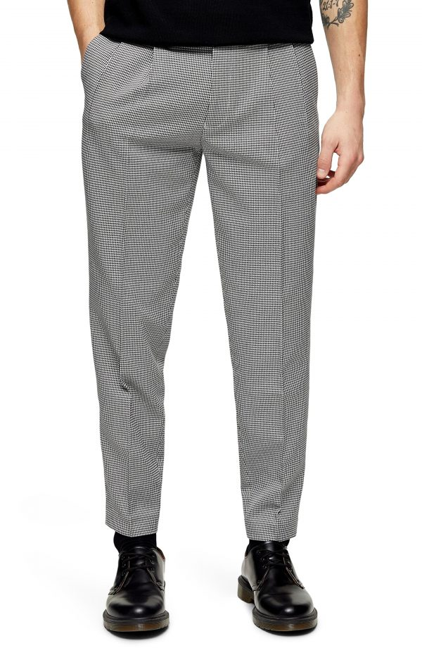 Men's Topman Houston Slim Fit Micro Houndstooth Tapered Trousers, Size 36 x 32 - Grey