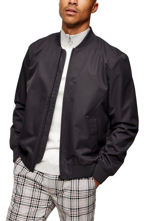Men's Topman Icon Classic Bomber Jacket, Size Medium - Grey