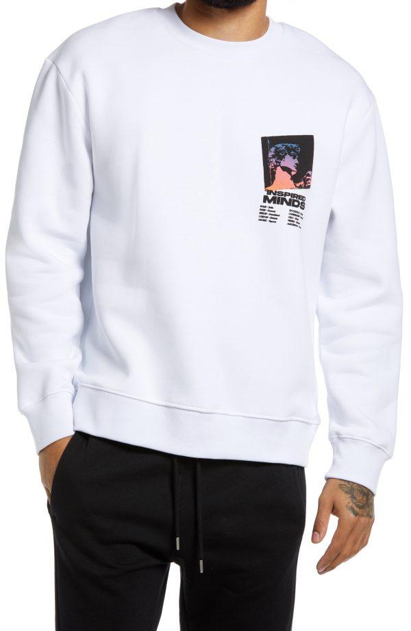 Men's Topman Inspired Minds Graphic Sweatshirt, Size Large - White