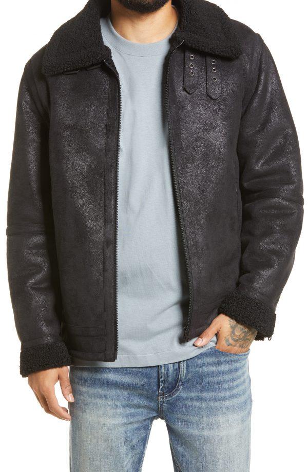 Men's Topman Josh Aviator Faux Leather Jacket, Size Large - Black