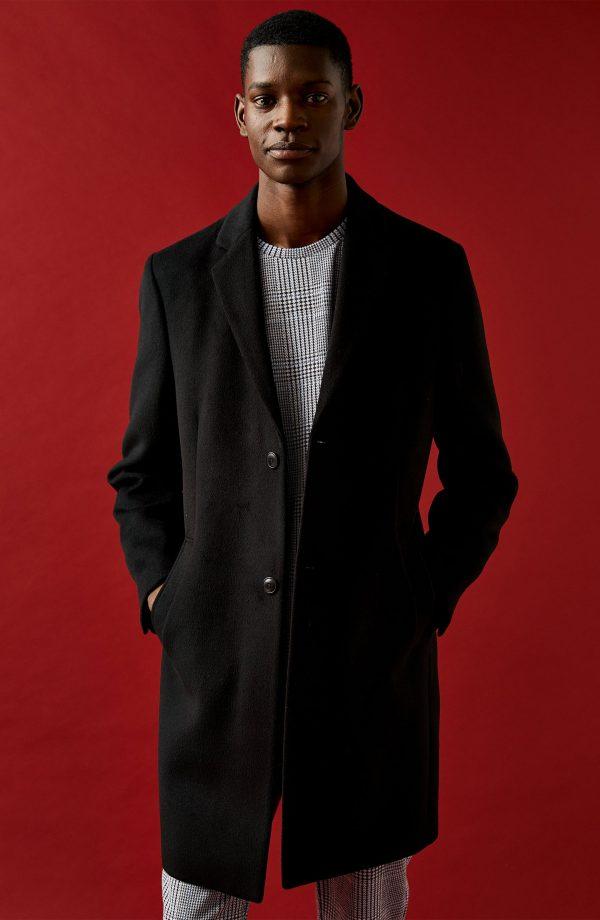 Men's Topman Justin Classic Fit Felt Topcoat, Size Small - Black