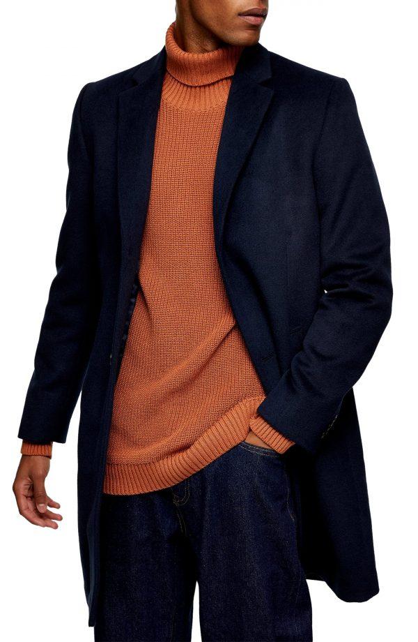 Men's Topman Justin Classic Fit Felt Topcoat, Size Small - Blue